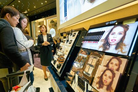 HONG KONG, CHINA - CIRCA JANUARY, 2019: people shopping in Cle de Peau store in New Town Plaza shopping mall