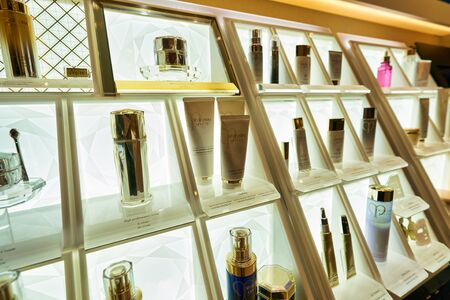 HONG KONG, CHINA - CIRCA JANUARY, 2019: personal care products on display at Cle de Peau store in New Town Plaza shopping mall
