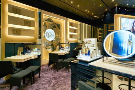 HONG KONG, CHINA - CIRCA JANUARY, 2019: interior shot of Cle de Peau store in New Town Plaza shopping mall Éditoriale