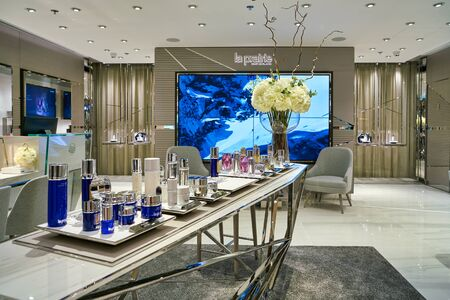 HONG KONG, CHINA - CIRCA JANUARY, 2019: cosmetic products on display at La Prairie store in Elements shopping mall.