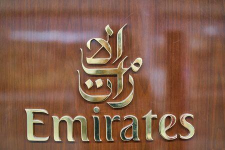 DUBAI, UAE - CIRCA JANUARY 2019: close up shot of Emirates sing seen in Dubai International Airport.