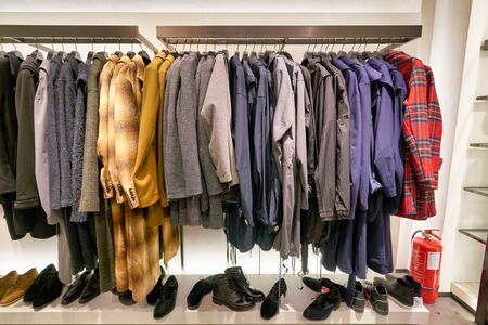 HONG KONG, CHINA - JANUARY 23, 2019: clothes on display at Zara store in New Town Plaza. New Town Plaza is a shopping mall in the town centre of Sha Tin, Hong Kong. Editorial