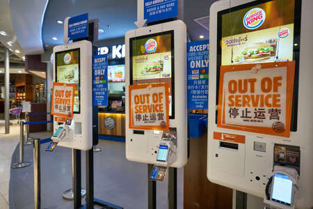 BANGKOK, THAILAND - CIRCA JANUARY, 2020: self-ordering kiosks seen at Burger King at Suvarnabhumi Airport.