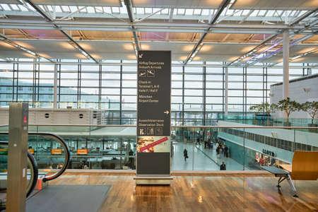 MUNICH, GERMANY - CIRCA JANUARY, 2020: a direction sign seen at Munich Airport.