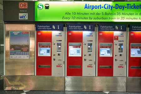 MUNICH, GERMANY - CIRCA JANUARY, 2020: self service ticket machines at Munich Airport.