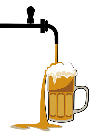 Pour beer into the mug from the tap Vector