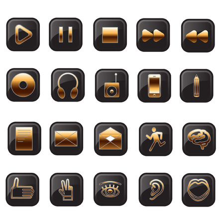 opened eye: Buttons for website. Vector image of button. Black background, gold lettering