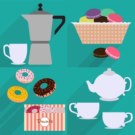 mocha: Coffee mocha, coffee, kettle and tea set, donuts in a box, Maroni in a basket on a turquoise background with long shadows
