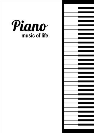 piano: teclas de piano en el fondo blanco con el texto