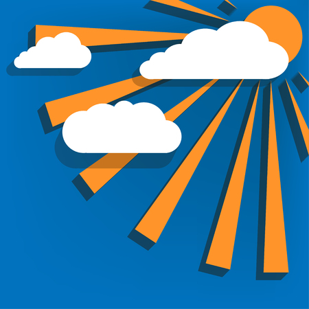 climate changes: The sun behind the clouds on a blue background with drop shadows