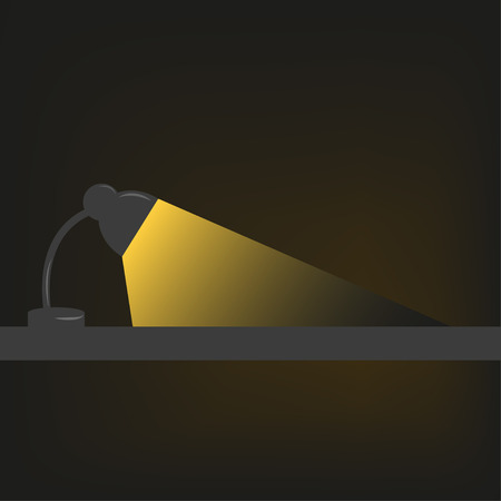 portion: Table lamp illuminates a portion of the space in the dark