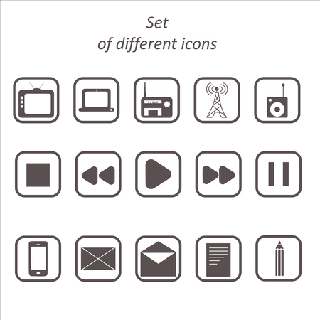 deceleration: Set of icons on a theme communication and media
