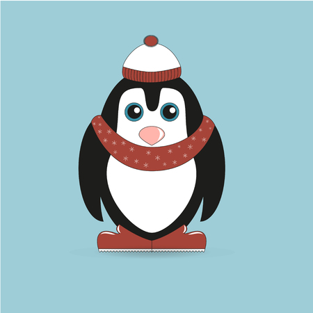 red boots: Penguin in red hat and scarf and red boots on a blue background Illustration