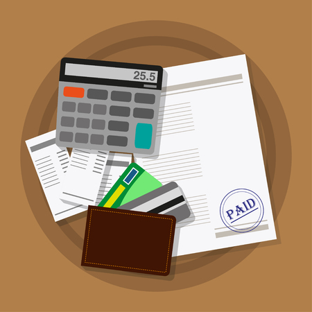 current account: Invoice sheet that checks to buy, calculator, and wallet with cards. Vector illustration in flat style
