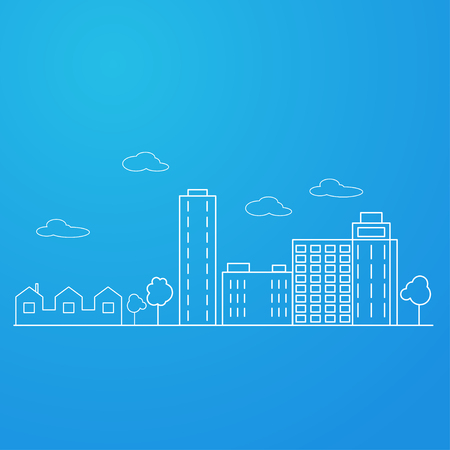 constructive: A constructive image of the city. Blue background. Vector illustration