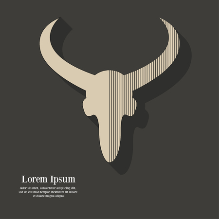 horn: The head of a bull with a falling shadow on a dark background. The modern design. Vector illustration