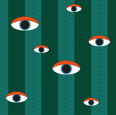 bright eyes: Bright eyes on a geometric background. Flat design Illustration