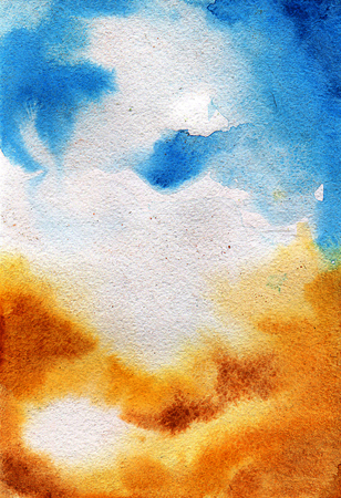 sienna: Watercolor wash. Absract colorful pattern