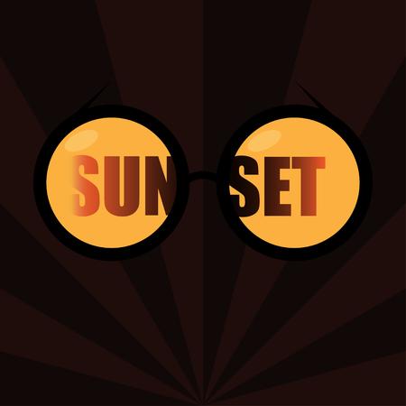 eyewear fashion: Glasses reflecting the Sunset. Dark background with stripes. Modern style Illustration