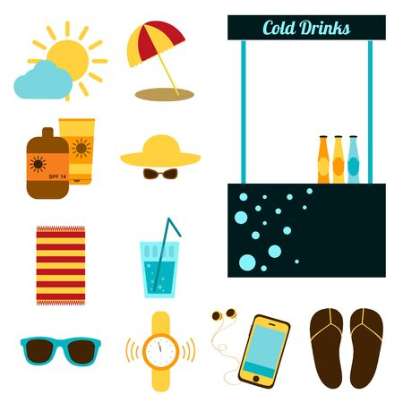 sunglasses recreation: Set of objects for recreation on the beach. Vector illustration. Summer holiday. Set for rest on the beach. Hat, sunglasses, umbrella, sunscreen, water, watch, player, blanket, flip-flops. Flat design Illustration