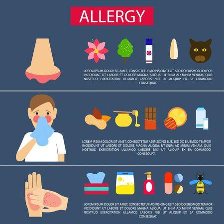 alergenos: Los al�rgenos alimentarios, alergenos de interior, epid�rmica y alergenos del polen. P�ster. Las personas con alergias