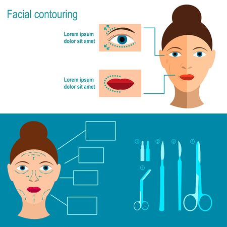 rejuvenation: Facial contouring. Methods of rejuvenation. Plastic surgery. Vector illustration. Flat design Illustration