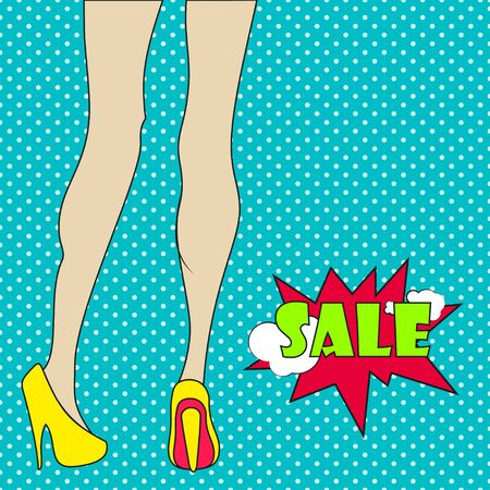 legs woman: Pop art womans legs in yellow shoes. Pop art womans legs in comics style. Sale badge.  Comic woman with sale sign. Retro style