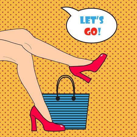 beach bag: Pop art womans legs in pink shoes. Pop art womans legs in comics style. Shoes and beach bag.  Comic woman with speech bubble. Retro style Illustration