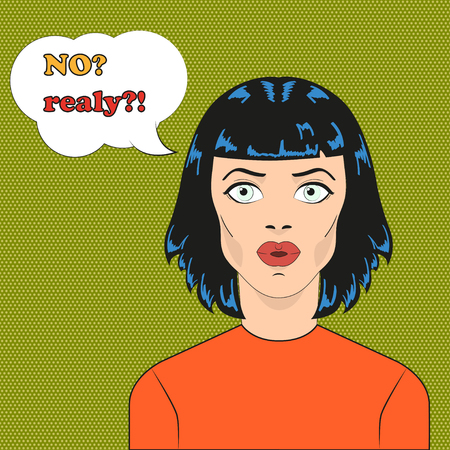 girl mouth open: Pop art surprised girl face with open mouth. Comic woman with speech bubble. Pop art girl with short hair. Pop art brunette girl in orange sweater on green polka dot background