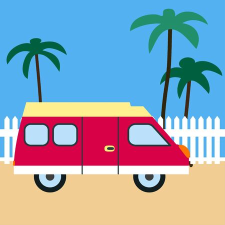 motor home: Motor home on the beach. Retro car. Motor home, sand, white fence and palm trees. Flat design Illustration