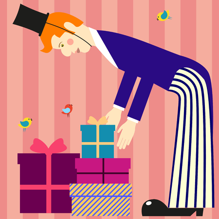 stilt: A tall man lays out the gift boxes. A tall man in tails and cylinder hat on striped background Illustration