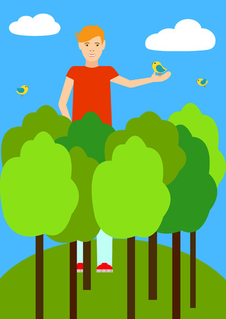 taller: A tall man taller than trees. A tall man among the clouds and birds. The guy holds the bird in his hand