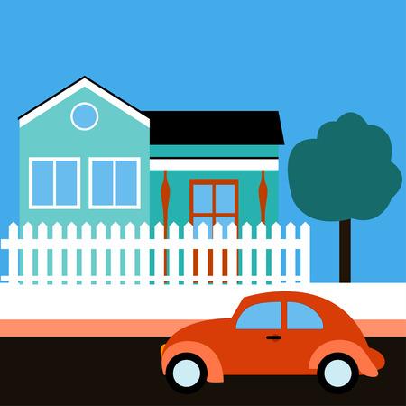 celadon: Retro car near a house. Sunny day. Retro car, celadon building, white fence, tree. Flat design