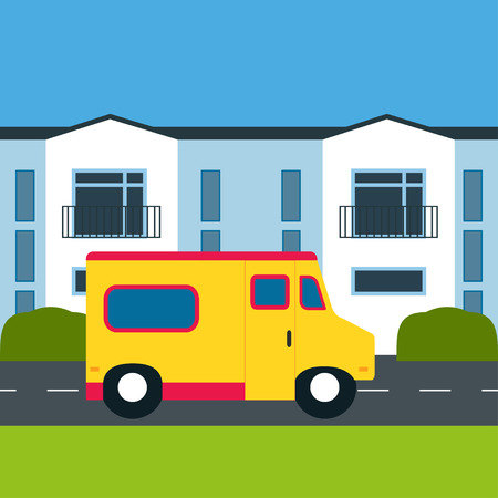 near: Motor home near a house. Retro car. Motor home, white building, shrubs, grass. Flat design