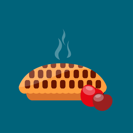 apple pie: Hot apple pie. Homemade apple pie with two red apples on blue background