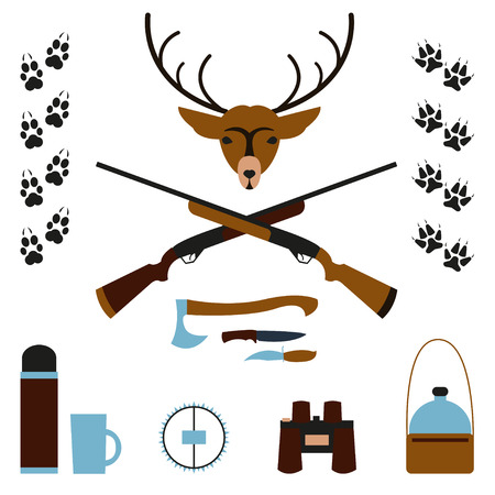 animal trap: Set for hunting. Deer head, axe hunter, knives, trap, canteen, and binoculars, animal tracks. Subjects for hunting on a white background. Flat design