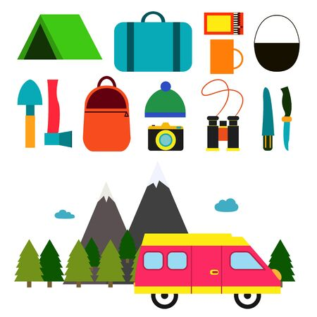 Motorhome and set of objects for hitchhiking. Tools and objects for hitchhiking. Flat design Illustration