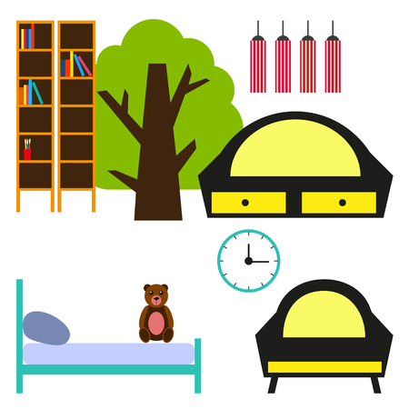 Set of furniture for nursery room. Nursery room flat design