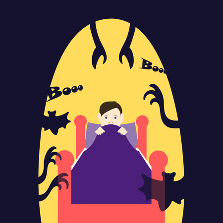 afraid: Night childrens fears. Child in bed afraid at night. Common childhood fears