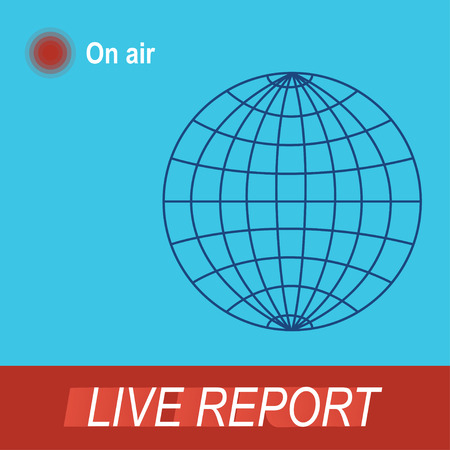intro: Icon Live report, silhouette of the Earth. The intro to the news with live report
