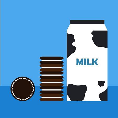 milk and cookies: Chocolate cookies with filling and package of milk on blue background. Flat design Illustration