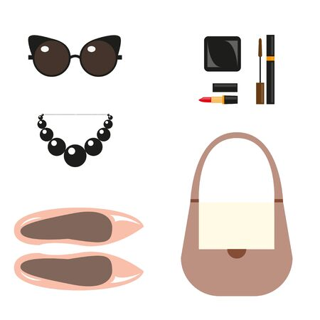 decorative accessories: Fashion accessories. Still life of shoes, handbag, necklace, sunglasses, decorative cosmetics. Flat design Top view