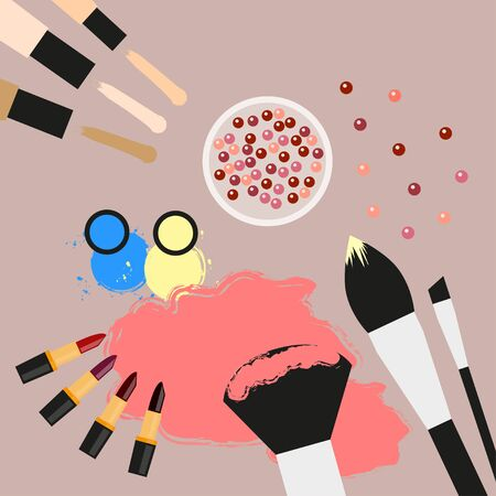 eyeshadow: Collection of cosmetic products. Concealer, blush, lipsticks, eyeshadow, makeup brushes. Cosmetics elements Flat design Top view