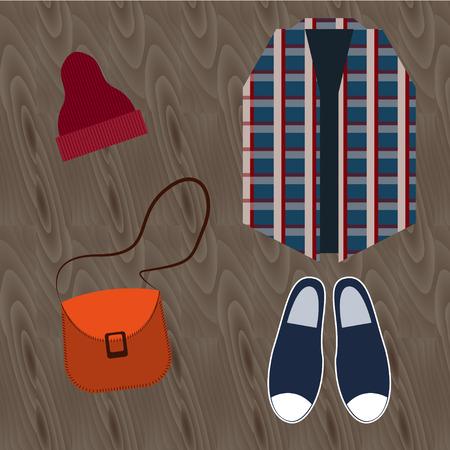 urban fashion: Still life of hipster clothing. Urban fashion: espadrilles, hat, handbag, plaid shirt. Top view Flat design Illustration