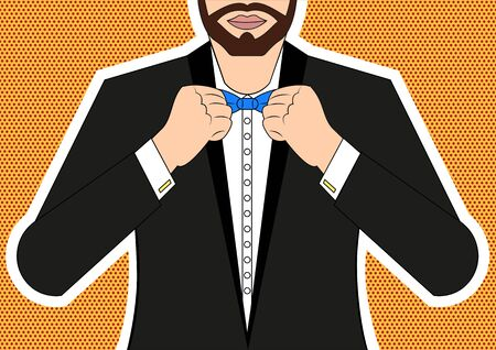 appearance: Man tying a bow tie at the neck Pop art style
