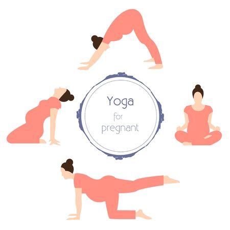 prenatal: Yoga for pregnant women Different poses prenatal yoga Flat design