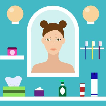 hormonal: Teenager with problem skin looks in the mirror in the bathroom