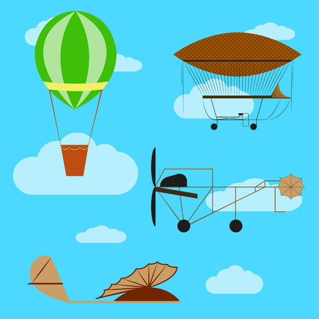 flight helmet: Set of old aircraft: airship, air balloon, first model airplanes on blue cloudy sky