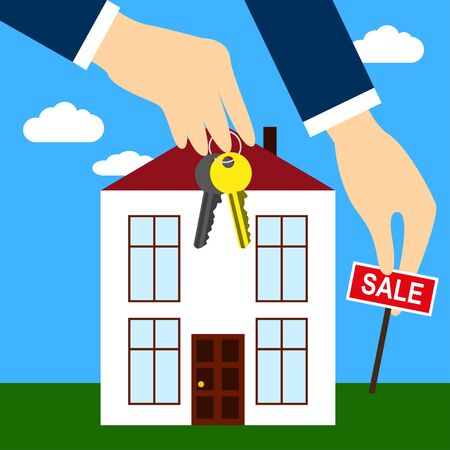 real estate sold: Purchase and sale of real estate New house for sale Hands of the real estate agent holding keys and Sold sign Illustration
