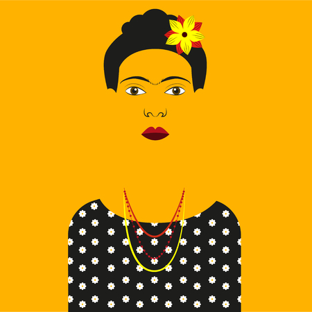 Frida Kahlo illustration Silhouette of Frida Kahlo in a black dress with white flowers on a colored background